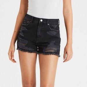 AEO distressed black denim mom shorts